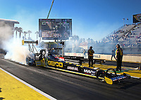 Mar 14, 2014; Gainesville, FL, USA; NHRA top fuel dragster driver Richie Crampton during qualifying for the Gatornationals at Gainesville Raceway Mandatory Credit: Mark J. Rebilas-USA TODAY Sports