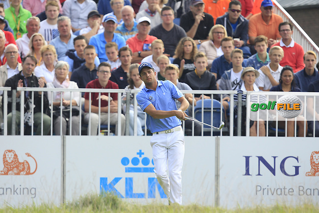 Sebastien Gros (FRA) on the 1st tee during Round 4 of the 2016 KLM Open at the Dutch Golf Club at Spijk in The Netherlands on  Sunday 11/09/16.<br /> Picture: Thos Caffrey | Golffile