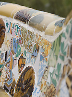 Serpentine Bench Detail.<br /> <br /> This bench is located in the Guell Park created by Gaudi in Barcelona, Spain.