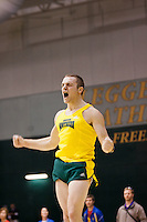Missouri Southern's Raymond Woldtvedt celebrates after making an attempt in the pole vault at the 2012 MIAA Indoor Track & Field Championships, February 26, at Missouri Southern State University, in Joplin.