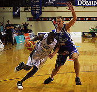 Jamil Terrell tries to get by Saints centre Nick Horvath during the NBL Round 12 match between the Wellington Saints and Nelson Giants at TSB Bank Arena, Wellington, New Zealand on Thursday 15 May 2008. Photo: Dave Lintott / lintottphoto.co.nz