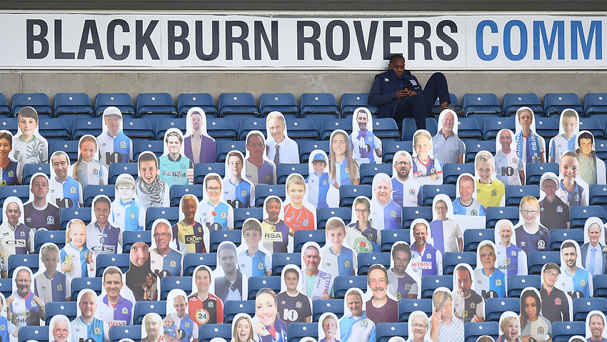 Blackburn Rovers' Ryan Nyambe in the stand with the 'fans'<br /> <br /> Photographer Dave Howarth/CameraSport<br /> <br /> The EFL Sky Bet Championship - Blackburn Rovers v Bristol City - Saturday 20th June 2020 - Ewood Park - Blackburn<br /> <br /> World Copyright © 2020 CameraSport. All rights reserved. 43 Linden Ave. Countesthorpe. Leicester. England. LE8 5PG - Tel: +44 (0) 116 277 4147 - admin@camerasport.com - www.camerasport.com