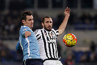 Calcio, Serie A: Lazio vs Juventus. Roma, stadio Olimpico, 4 dicembre 2015.<br /> Lazio&rsquo;s Miroslav Klose, left, and Juventus&rsquo; Giorgio Chiellini fight for the ball during the Italian Serie A football match between Lazio and Juventus at Rome's Olympic stadium, 4 December 2015.<br /> UPDATE IMAGES PRESS/Isabella Bonotto