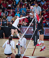 STANFORD, CA - November 4, 2018: Meghan McClure at Maples Pavilion. No. 2 Stanford Cardinal defeated the Utah Utes 3-0.