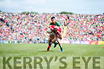 Michael Geaney Kerry  in action against Tomas Clancy Cork in the Munster Senior Football Final at Fitzgerald Stadium on Sunday.