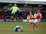 Chris Maxwell of Fleetwood Town saves as Che Adams of Sheffield Utd closes in - English League One - Fleetwood Town vs Sheffield Utd - Highbury Stadium - Fleetwood - England - 5rd March 2016 - Picture Simon Bellis/Sportimage