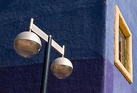 Lamp post and bright colors in La Placitas Village.