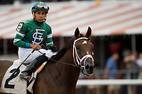 SARATOGA SPRINGS, NY- AUGUST 03: War Value with Manny Franco up breaks his maiden at Saratoga Racecourse on August 3, 2018 in Saratoga Springs, New York.(Photo by Alex Evers/Eclipse Sportswire)