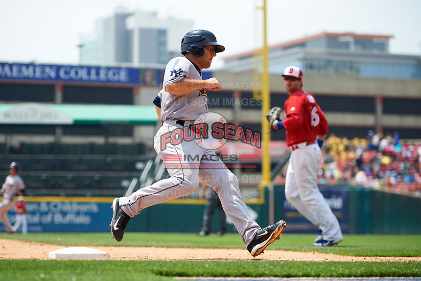 Scranton/Wilkes-Barre RailRiders first baseman Rob Segedin (26) holds up at third while running the bases during a game against the Buffalo Bisons on June 10, 2015 at Coca-Cola Field in Buffalo, New York.  Scranton/Wilkes-Barre defeated Buffalo 7-2.  (Mike Janes/Four Seam Images)