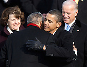 Washington, DC - January 20, 2009 -- Reverend Joseph Lowery hugs United States President Barack H. Obama during the inauguration ceremony on the West Front of the United States Capitol in Washington, DC, Tuesday, January 20, 2009..Credit: Jim Bourg - Pool via CNP
