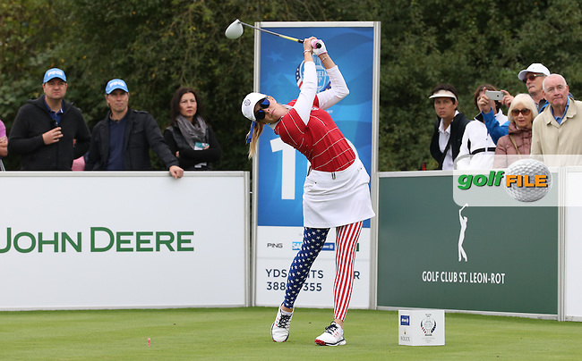 Paula Creamer (USA) during Friday afternoon's Four-balls, at The Solheim Cup 2015 played at Golf Club St. Leon-Rot, Mannheim, Germany.  18/09/2015. Picture: Golffile | David Lloyd<br /> <br /> All photos usage must carry mandatory copyright credit (&copy; Golffile | David Lloyd)