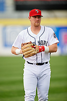 Binghamton Rumble Ponies third baseman Matt Oberste (45) warms up prior to a game against the Erie SeaWolves on May 14, 2018 at NYSEG Stadium in Binghamton, New York.  Binghamton defeated Erie 6-5.  (Mike Janes/Four Seam Images)