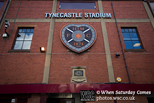Heart of Midlothian 1 Birkirkara 2, 21/07/2016. Tynecastle Park, UEFA Europa League 2nd qualifying round. The facade of the historic main stand at Tynecastle Park, Edinburgh, pictured before Heart of Midlothian played Birkirkara of Malta in a UEFA Europa League 2nd qualifying round, second leg. The match ended in victory for the Maltese side by 2-1 and they progressed on aggregate after the first match had ended 0-0. The game was watched by 14301 spectators, including 56 visiting fans of Birkirkara. Photo by Colin McPherson.