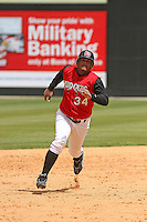Juan Francisco of the Carolina Mudcats running to third base against  the Huntsville Stars on April 22, 2009 at Five County Stadium in Zebulon, NC
