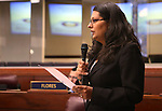 Nevada Assemblywoman Olivia Diaz, D-North Las Vegas, speaks on the Assembly floor at the Nevada Legislature in Carson City, Nev. on Friday, Oct. 14, 2016. In a weeklong special session, lawmakers approved the use of public funds to expand the convention center and build a domed stadium in Las Vegas. Diaz voted against the measure. Cathleen Allison/Las Vegas Review-Journal