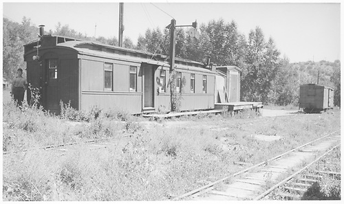 A northeast-facing 3/4 view of the RGS passenger depot which was former work car #0253 and former coach #253.<br /> RGS  West Durango, CO  Taken by Arend, Lad G. - 8/22/1936