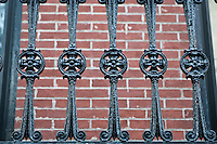 1870 victorian ironwork detail are shown on a Brooklyn Heights railings in Brooklyn, NY, Monday August 1, 2011.