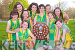 Hannah and Shannon O'Leary, Aisling Collins, Shauna Guerin, Rachel Brosnan, Laoise Coughlan, Christina McAulliffe, Denise Cremin, Roisin O'Leary and Maria O'Callaghan, Rathmore/Gneeveguilla community games, who won the U13 county final in Listowel on Saturday 11th April.........