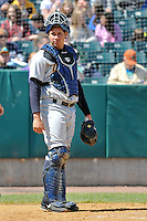 Catcher Gary Sanchez (35) of the Trenton Thunder stands at home plate during a game against the New Britain Rock Cats at New Britain Stadium on May 7, 2014 in New Britain, Connecticut.  Trenton defeated New Britain 6-4.  (Gregory Vasil/Four Seam Images)