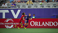 Orlando, FL - Sunday June 26, 2016: Katherine Reynolds, Stephanie Catley  during a regular season National Women's Soccer League (NWSL) match between the Orlando Pride and the Portland Thorns FC at Camping World Stadium.