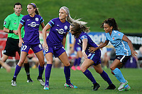 Piscataway, NJ - Wednesday Sept. 07, 2016: Matthew Franz, Dani Weatherholt, Kaylyn Kyle, Maddy Evans, Taylor Lytle during a regular season National Women's Soccer League (NWSL) match between Sky Blue FC and the Orlando Pride FC at Yurcak Field.