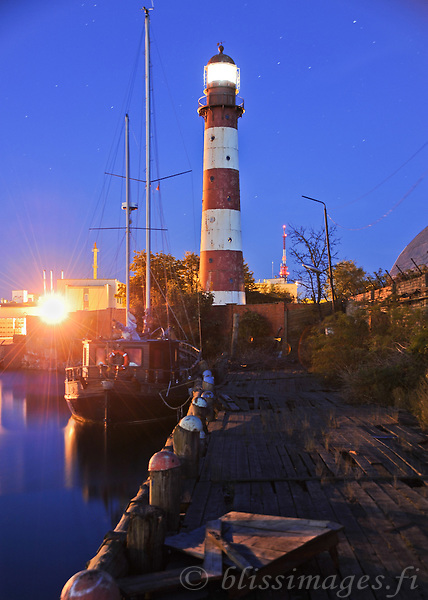 Liepaja lighthouse manages to stay proud in a dilapitated dockyard area of Liepaja Port, Latvia.