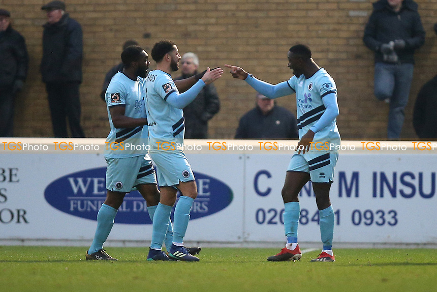 Justin Shaibu of Boreham Wood scores the third goal for his team and celebrates with his team mates during Dagenham & Redbridge vs Boreham Wood, Vanarama National League Football at the Chigwell Construction Stadium on 5th January 2019