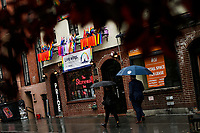 NEW YORK, NY - JUNE 18: People pass by the historical landmark Tavern The Stonewall Inn on June 18, 2019 in New York. The Stonewall riots were a series of violent demonstrations by members of the gay (LGBT) community against a police raid starting June 28, 1969, at the Stonewall Inn at the Greenwich Village neighborhood of Manhattan, . (Photo by STRKB/VIEWpress)