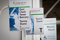 Various signs for the Tavern Stands at Lords Cricket Ground during Middlesex CCC vs Lancashire CCC, Specsavers County Championship Division 2 Cricket at Lord's Cricket Ground on 12th April 2019