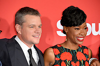 Matt Damon &amp; Karimah Westbrook at the premiere for &quot;Suburbicon&quot; at the Regency Village Theatre, Westwood. Los Angeles, USA 22 October  2017<br /> Picture: Paul Smith/Featureflash/SilverHub 0208 004 5359 sales@silverhubmedia.com