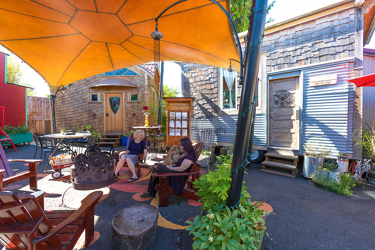 The group campfire area at Caravan, the Tiny House Hotel, Portland, OR, USA