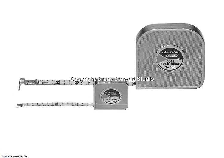 Client: H.K. Porter Company<br /> Ad Agency:<br /> Product: Disston Star Chief Tape Measures<br /> Location: Brady Stewart Studio, 725 Liberty Avenue in Pittsburgh<br /> <br /> Disston was founded as the Keystone Saw Works outside Philiadelphia PA. The company was very innovative and was world renown for high quality industrial and consumer saws.  <br /> In the early 1950's, with mounting debt and lack of family interest to keep the business going, the family sold the business to H.K. Porter in 1955.