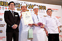 "March 8, 2013, Chiba, Japan - Staff of the restaurant ""Yamagawa"" from Singapore receive the ""Gold Sushi Restaurant Award"" at the World Sushi Cup Japan 2013, Restaurant Competition in Makuhari. Word's top class Sushi Chefs from overseas and Japan attend the ""World Sushi Cup Japan 2013"" to show their creativity and inspiration for making sushi. The competition evaluates the sanitary and quality control management and methods as well as localizing taste and design. The contest was held fist time ever in conjunction with FOODEX Japan 2013. (Photo by Rodrigo Reyes Marin/AFLO).."