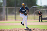 Milwaukee Brewers relief pitcher Wilfred Salaman (87) delivers a pitch during an Instructional League game against the Los Angeles Dodgers at Maryvale Baseball Park on September 24, 2018 in Phoenix, Arizona. (Zachary Lucy/Four Seam Images)