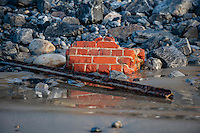 Tuesday  09 February 2016<br /> Pictured: Masonry and a girder washed up on Pendine Beach, Carmarthenshire<br /> Re:  Debris left on the beach in the aftermath of Storm Imogen