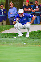 Lee Westwood (ENG) lines up his putt on 9 during round 1 of the World Golf Championships, Mexico, Club De Golf Chapultepec, Mexico City, Mexico. 3/2/2017.<br />