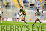Anthony Maher, Kerry in action against Eamon Callaghan,  Kildare in the All Ireland Quarter Final at Croke Park on Sunday.