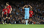 Sergio Aguero of Manchester City reacts to a missed chance during the English Premier League match at The Etihad Stadium, Manchester. Picture date: April 27th, 2016. Photo credit should read: Lynne Cameron/Sportimage