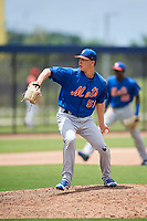 GCL Mets relief pitcher Hector Rodriguez (51) delivers a pitch during a game against the GCL Nationals on August 4, 2018 at FITTEAM Ballpark of the Palm Beaches in West Palm Beach, Florida.  GCL Nationals defeated GCL Mets 7-4.  (Mike Janes/Four Seam Images)
