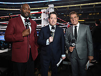 DALLAS, TX - MARCH 16: Fox's Lennox Lewis, Kenny Albert, and Joe Goossen at the Errol Spence Jr. vs Mikey Garcia IBF  World Welterweight Championship fight at the Fox Sports PBC Pay-Per-View fight night at AT&T Stadium on March 16, 2019 in Dallas, Texas. (Photo by Frank Micelotta/Fox Sports/PictureGroup)