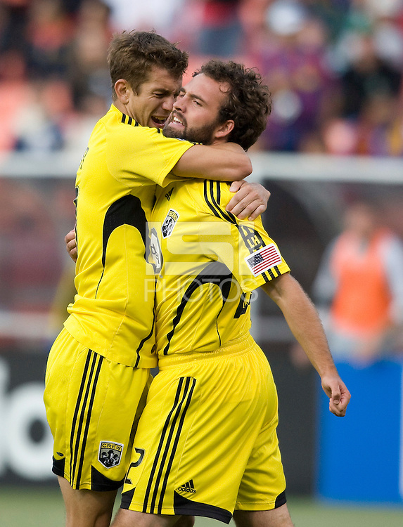 08 August 2009: Eric Brunner of the Crew celebrates with Adam Moffat of the Crew after Moffat scored a goal during the second half of the game against the Earthquakes at Candlestick Park in San Francisco, California.  Crew defeated Earthquakes, 3-0.