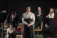 """Probe des Theaterstueck """"ROSA- UND DIE FREIHEIT DER ANDERSDENKENDEN"""" der Dramaturgin Barbara Kastner.<br /> Regie: Anja Panse.<br /> Darsteller:<br /> Rosa Luxemburg: Susanne Jansen (2.vl. im Bild).<br /> Ernst Julius Waldemar Pabst, Kaiser Wilhelm III, u.a.: Lutz Wessel(3.vl. im Bild).<br /> Leutnant, Bundesverteidigungsminsiterin, u.a.: Arne van Dorsten(1.vl. im Bild).<br /> Musikerin, Sophie Lieberknecht: Annegret Enderle (rechts im Bild).<br /> 22.5.2017, Berlin<br /> Copyright: Christian-Ditsch.de<br /> [Inhaltsveraendernde Manipulation des Fotos nur nach ausdruecklicher Genehmigung des Fotografen. Vereinbarungen ueber Abtretung von Persoenlichkeitsrechten/Model Release der abgebildeten Person/Personen liegen nicht vor. NO MODEL RELEASE! Nur fuer Redaktionelle Zwecke. Don't publish without copyright Christian-Ditsch.de, Veroeffentlichung nur mit Fotografennennung, sowie gegen Honorar, MwSt. und Beleg. Konto: I N G - D i B a, IBAN DE58500105175400192269, BIC INGDDEFFXXX, Kontakt: post@christian-ditsch.de<br /> Bei der Bearbeitung der Dateiinformationen darf die Urheberkennzeichnung in den EXIF- und  IPTC-Daten nicht entfernt werden, diese sind in digitalen Medien nach §95c UrhG rechtlich geschuetzt. Der Urhebervermerk wird gemaess §13 UrhG verlangt.]"""