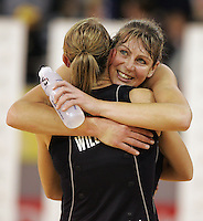 21.07.2007 Silver Ferns Irene Van Dyk and Adine Wilson celebrate after the Silver Ferns v Australia Netball Test Match at Vodafone Arena, Melbourne Australia. The Silver Ferns won 67-65 after double extra time. Mandatory Photo Credit ©Michael Bradley. **$150 + GST USAGE FEE DOES APPLY**