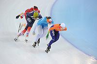 SPEEDSKATING: SOCHI: Adler Arena, 19-03-2013, Training, Marrit Leenstra (NED), Lotte van Beek (NED), Benjamin Mace (FRA), Marije Joling (NED), © Martin de Jong
