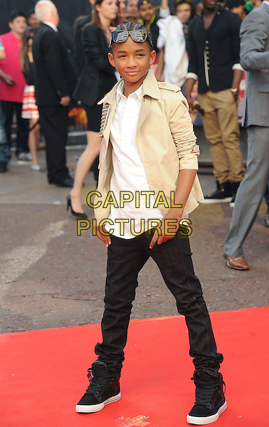 "JADEN SMITH.The Gala Premiere of ""The Karate Kid"", Odeon Leicester Square, London, England, UK..15th July 2010.full length cream beige jacket sunglasses black trousers trainers studs studded white shirt.CAP/BEL.©Tom Belcher/Capital Pictures."