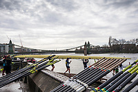 Hammersmith. London. United Kingdom,  General View crews boating from Furnivall SC, 2018 Men's Head of the River Race.  location Barnes Bridge, Championship Course, Putney to Mortlake. River Thames, <br /> <br /> Sunday   11/03/2018<br /> <br /> [Mandatory Credit:Peter SPURRIER Intersport Images]<br /> <br /> LEICA CAMERA AG  LEICA Q (Typ 116)  1/1600 sec. 28 mm f.8 200 ISO.  42.6MB