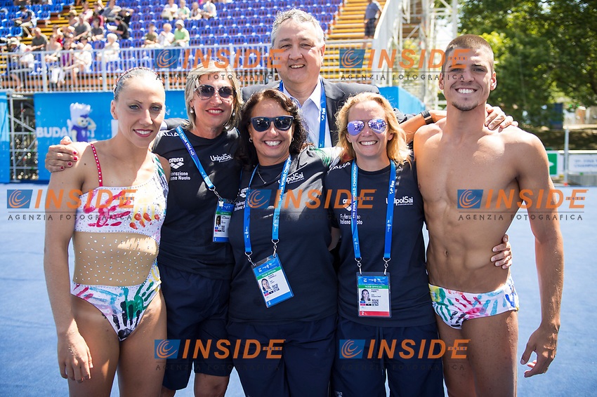 ITA Italy FLAMINI Manila MINISINI Giorgio gold medal with coaches and FIN President Paolo Barelli<br /> Synchronised swimming , Synchro<br /> mixed duet tecnhical final<br /> 17/07/2017 <br /> XVII FINA World Championships Aquatics<br /> City Park - Varosliget Lake<br /> Photo @ Giorgio Perottino/Deepbluemedia/Insidefoto