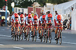 Team Katusha Alpecin in action during Stage 1 of La Vuelta 2019, a team time trial running 13.4km from Salinas de Torrevieja to Torrevieja, Spain. 24th August 2019.<br /> Picture: Luis Angel Gomez/Photogomezsport | Cyclefile<br /> <br /> All photos usage must carry mandatory copyright credit (© Cyclefile | Luis Angel Gomez/Photogomezsport)