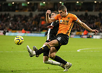 Wolverhampton Wanderers' Conor Coady is fouled by Newcastle United's Miguel Almiron who was booked <br /> Photographer Lee Parker/CameraSport<br /> <br /> The Premier League - Wolverhampton Wanderers v Newcastle United - Saturday 11th January 2020 - Molineux - Wolverhampton<br /> <br /> World Copyright © 2020 CameraSport. All rights reserved. 43 Linden Ave. Countesthorpe. Leicester. England. LE8 5PG - Tel: +44 (0) 116 277 4147 - admin@camerasport.com - www.camerasport.com