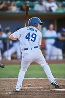 Matt Cogen (49) of the Ogden Raptors bats against the Missoula Osprey at Lindquist Field on July 12, 2018 in Ogden, Utah. Missoula defeated Ogden 11-4. (Stephen Smith/Four Seam Images)